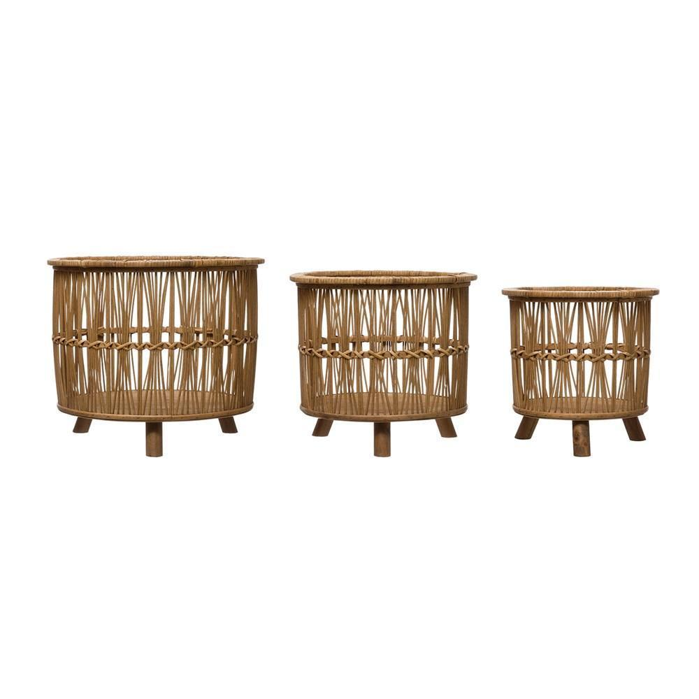 Bamboo Footed Baskets, Set of 3