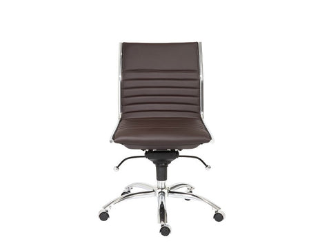 Dirk Low Back Office Chair Armless in Brown design by Euro Style