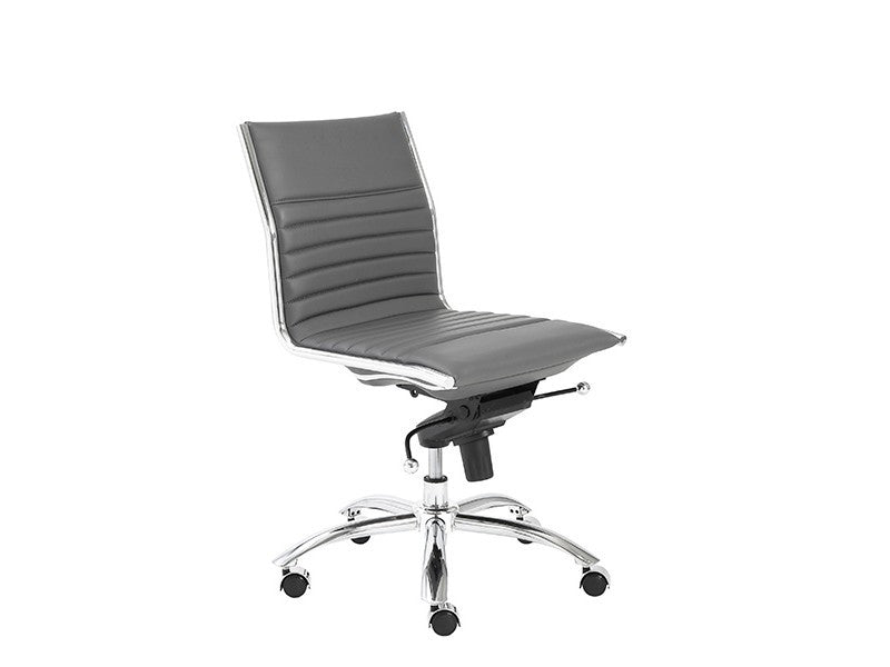 Dirk Low Back Office Chair Armless in Grey design by Euro Style