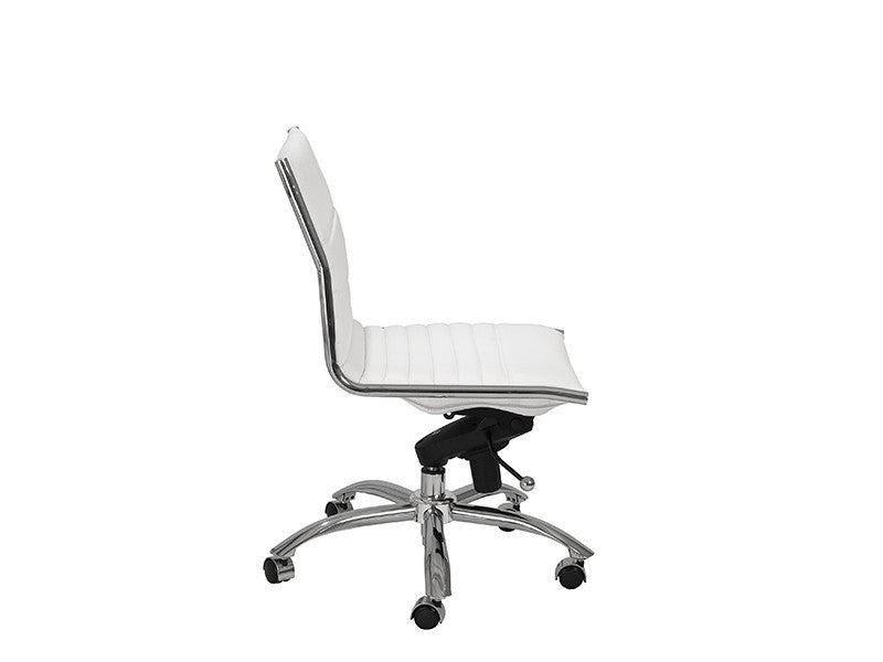 Dirk Low Back Office Chair Armless in White design by Euro Style
