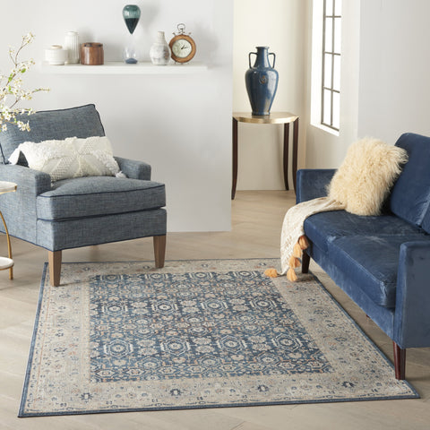 Malta Rug in Blue & Grey by Kathy Ireland