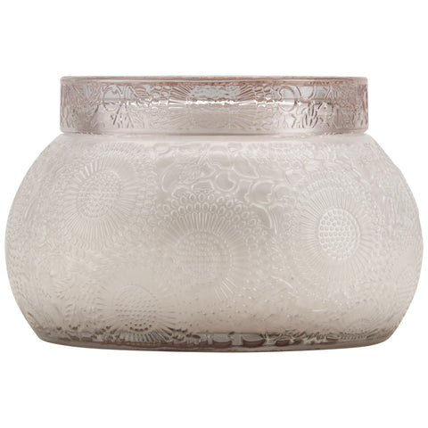 Chawan Bowl 2 Wick Embossed Glass Candle in Panjore Lychee design by Voluspa