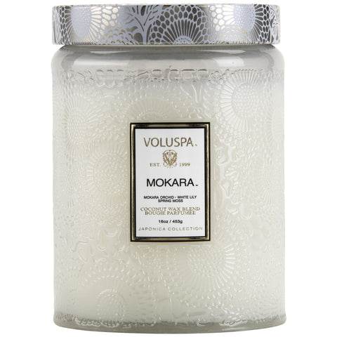 Large Embossed Glass Jar Candle in Mokara design by Voluspa