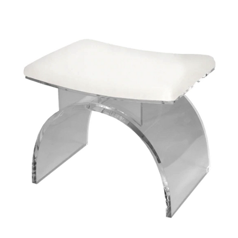 Lucite Arched Stool Base with Cushion in Various Colors