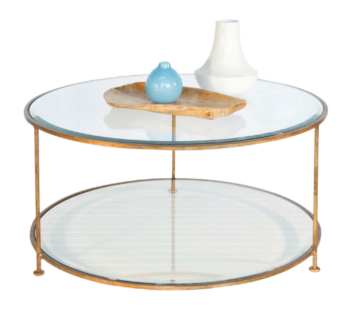 Gold Leaf Iron Round Coffee Table with Beveled Glass Tops