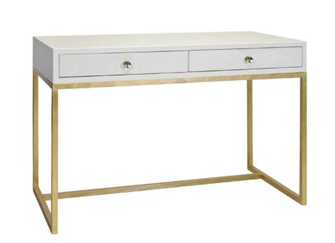 White Lacquer Two Drawer Desk with Gold Leafed Base