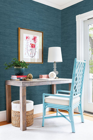 Sea Grass Blue Faux Grasscloth Wallpaper from the Essentials Collection by Brewster Home Fashions