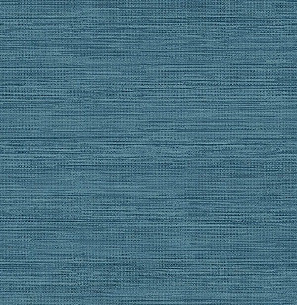 Sea Grass Blue Faux Grasscloth Wallpaper From The