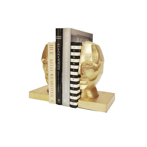Edmund Pair of Profile Bookends in Gold Leaf design by BD Studio