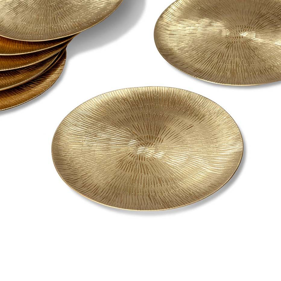 Set of 8 Elise Brass Coasters by Interlude Home