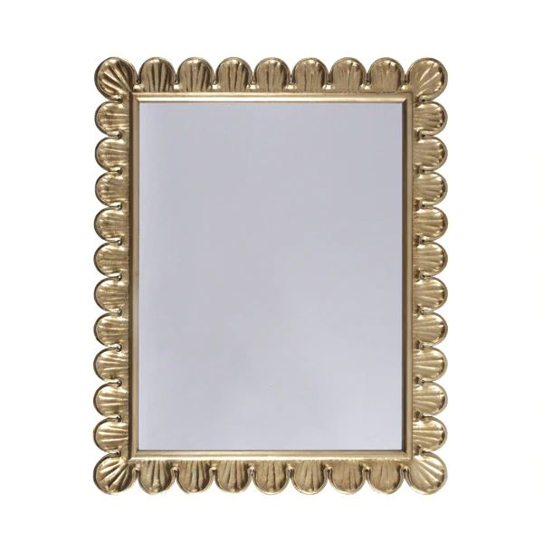 Eliza Mirror w/ Scalloped Edge Frame in Gold Leaf