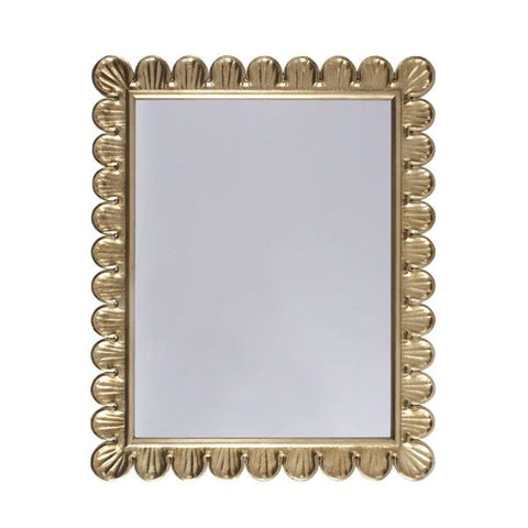 Eliza Mirror w/ Scalloped Edge Frame in Gold Leaf design by BD Studio