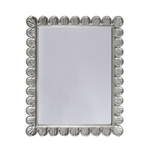 Eliza Mirror w/ Scalloped Edge Frame in Silver Leaf design by BD Studio