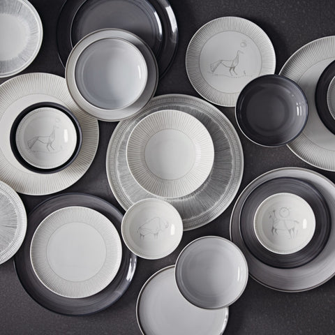 Charcoal Grey Lines Dinner Plate by Ellen DeGeneres
