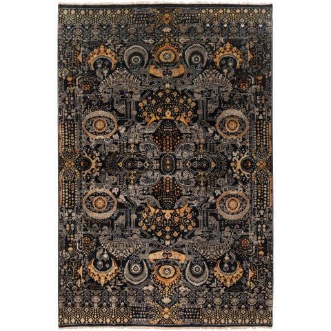 Empress Rug in Black & Gold design by Surya