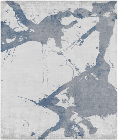 Eastern Side of Nanjing Hand Knotted Rug in Blue design by Second Studio