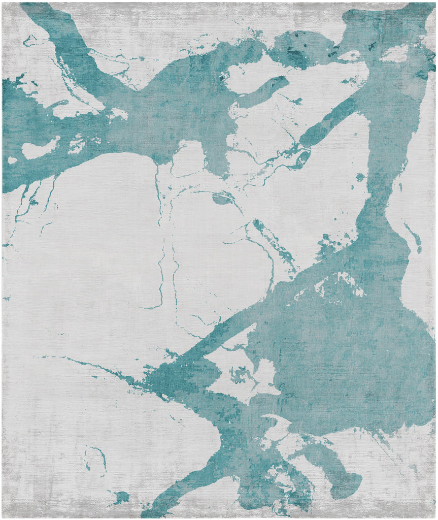 Eastern Side of Nanjing Hand Knotted Rug in Light Blue design by Second Studio