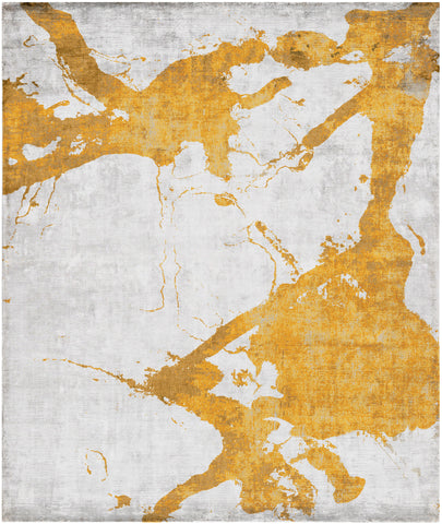 Eastern Side of Nanjing Hand Knotted Rug in Orange design by Second Studio