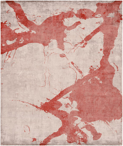 Eastern Side of Nanjing Hand Knotted Rug in Red design by Second Studio
