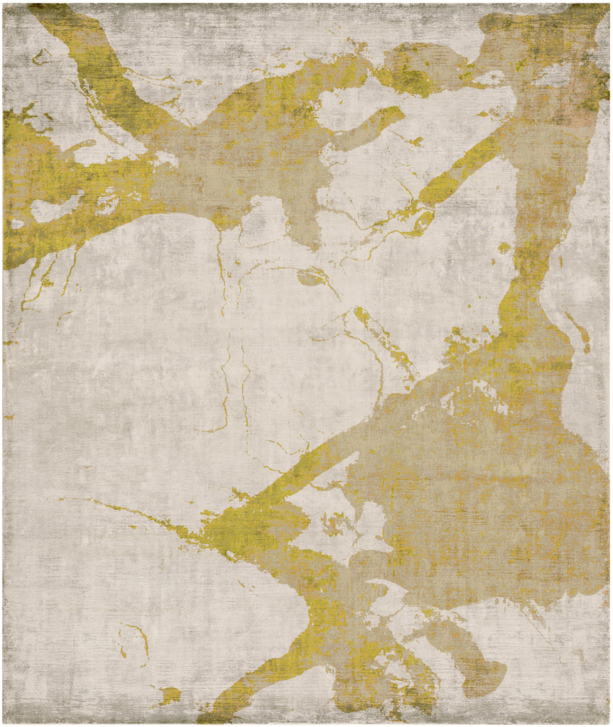 Eastern Side of Nanjing Hand Knotted Rug in Yellow design by Second Studio