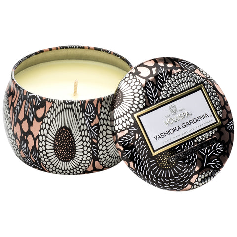 Petite Decorative Tin Candle in Yashioka Gardenia design by Voluspa