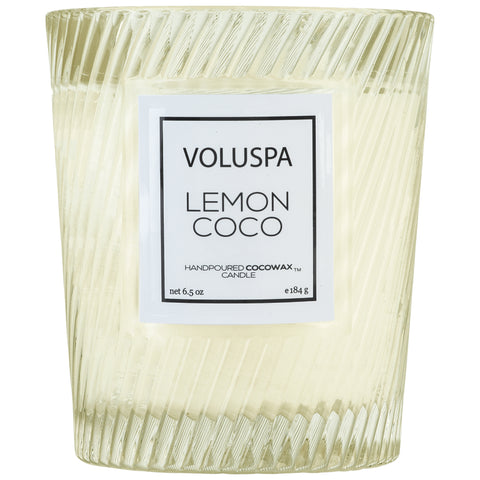Classic Textured Glass Candle in Lemon Coco design by Voluspa