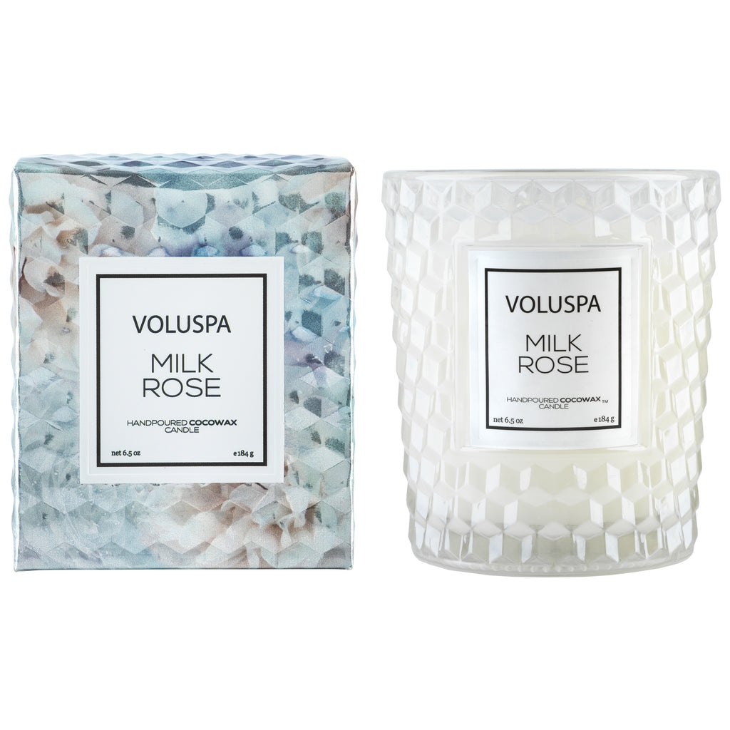 Classic Textured Glass Candle in Milk Rose design by Voluspa