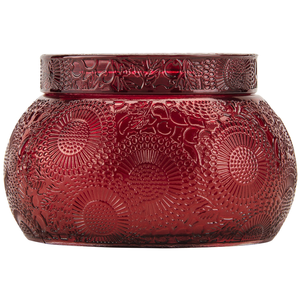 Chawan Bowl 2 Wick Embossed Glass Candle in Goji Tarocco Orange design by Voluspa