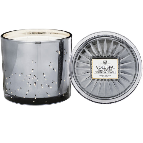 Grande Maison 3 Wick Glass Candle in Makassar Ebony & Peach design by Voluspa