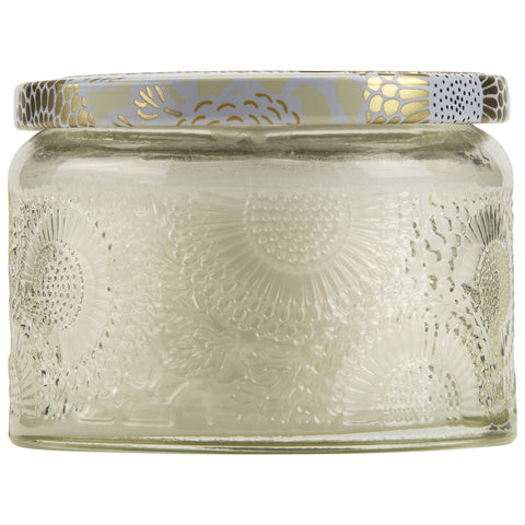 Petite Embossed Glass Jar Candle in Nissho-Soleil design by Voluspa