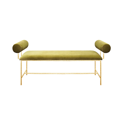 Bolster Arm Gold Leaf Bench in Various Colors