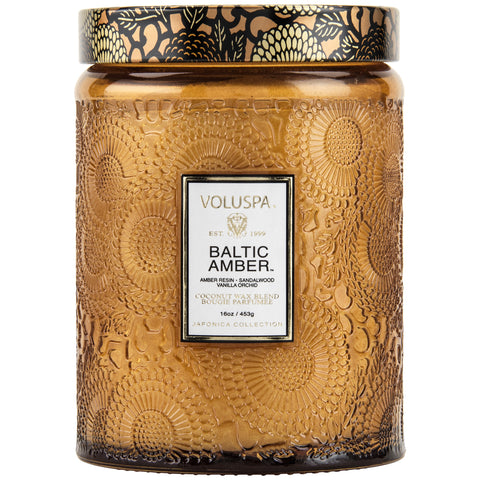 Large Embossed Glass Jar Candle in Baltic Amber design by Voluspa