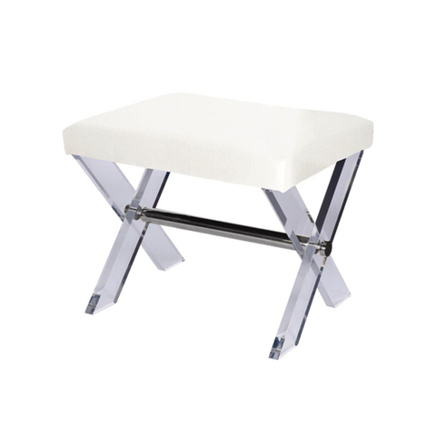 Acrylic X Base Stool with Nickel Stretcher in Various Colors