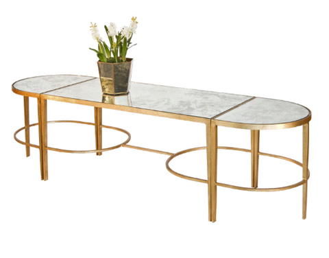 3-Piece Gold Leaf Sabre Leg Coffee Table with Antique Mirror Tops