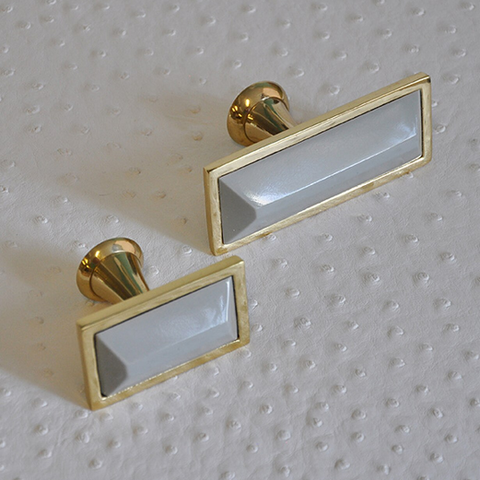 Large Brass Rectangle Knob with Inset Resin in Various Colors
