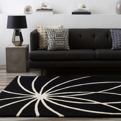 Forum Collection Wool Area Rug in Jet Black and Winter White design by Surya