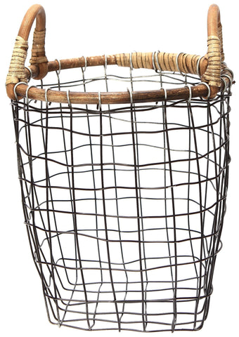 Rattan Top Wire Basket - Medium