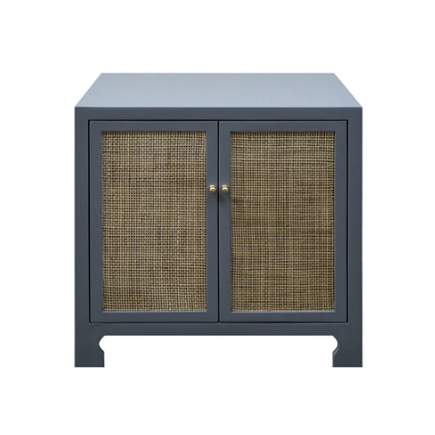 Two Door Cane Cabinet with Brass Hardware in Various Colors