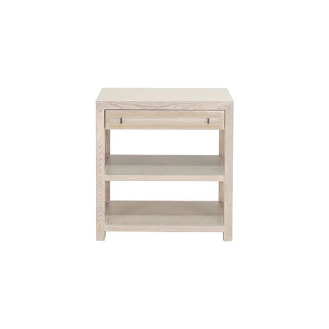 Garbo One Drawer Side Table w/ Acrylic & Nickel Hardware in Cerused Oak