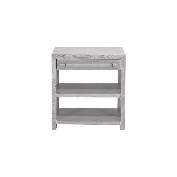 Garbo One Drawer Side Table w/ Acrylic & Nickel Hardware in Grey Cerused Oak