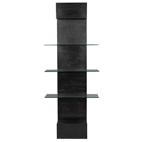 Colombo Shelving in Black Metal & Glass by Noir