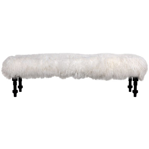Coco Bench w/ Lamb Fur in Hand Rubbed Black