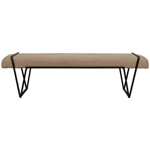 Larkin Bench in Metal & Linen