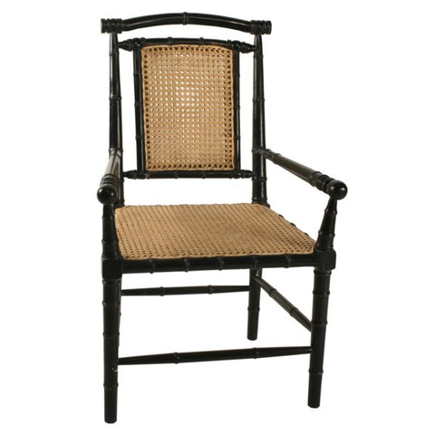 Colonial Bamboo Arm Chair in Hand Rubbed Black by Noir