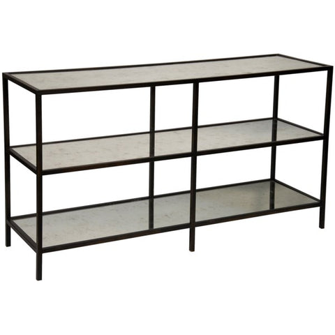 3 Tier Console in Antique Glass & Black Metal by Noir