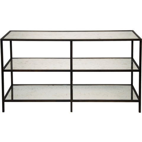3 Tier Console in Antique Glass & Black Metal