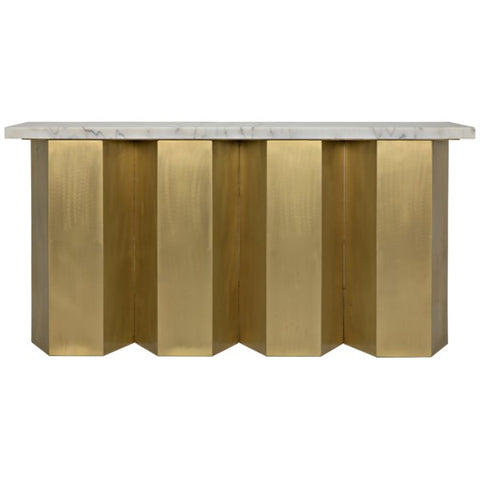 Shilo Console in Metal & White Stone
