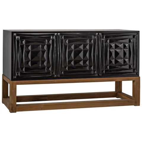 Oliver Sideboard in Hand Rubbed Black w/ Teak Base by Noir