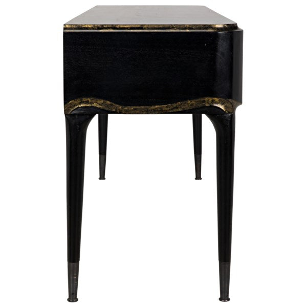 Carlisle Console in Hand Rubbed Black & Gold by Noir