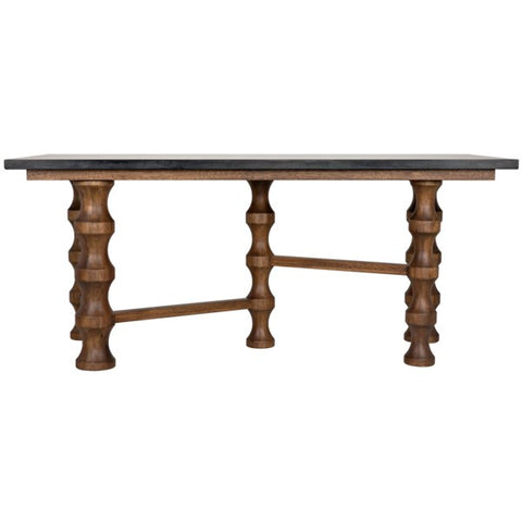 Creo Desk w/ Stone Top in Dark Walnut by Noir